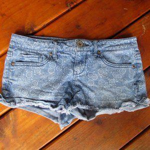 Aeropostale floral denim cutoff jean shorts sz 1/2